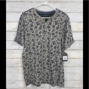 Free Planet  Gray & Black Leaf Print Shirt